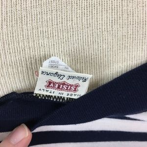 Vintage Dresses - Vintage Sisley Navy & White Striped Tank Dress